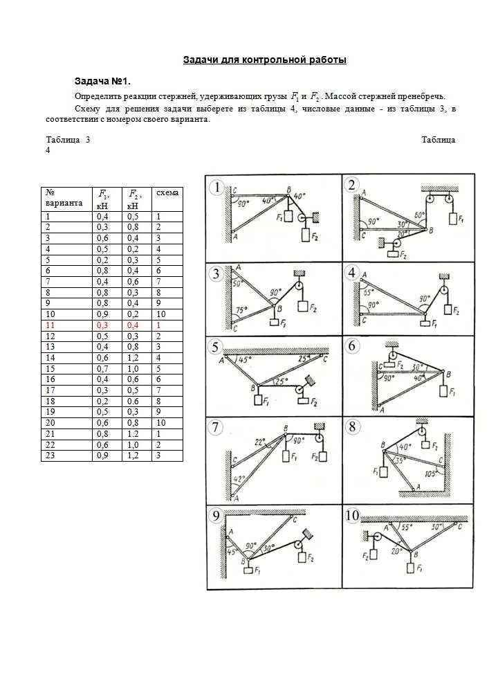 Как решить схему по технической механике