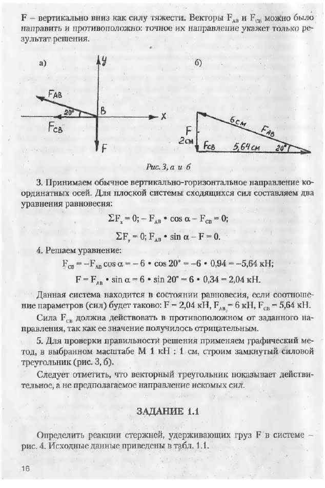 Техническая механика Методические указания и контрольные задания  ЗАДАНИЕ 1 1 Определить реакции стержней удерживающих груз f в системе рис 4 Исходные данные приведены в табл 1 1
